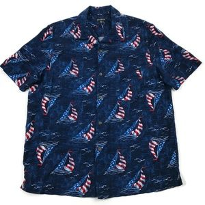 George American Short Sleeve Sail Boat Button Up